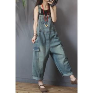 Flap Pockets Fashion Cuffed Overalls Baggy Jean Dungarees