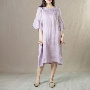 Flare Sleeve Manual Embroidered Dress Ramie Loose Long Tunic