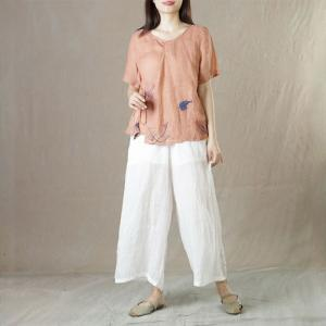 Short Sleeve  Embroidered Leaf Blouse Ramie Tied Ladies Shirt