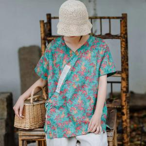 Short Sleeve Slanted Belted Shirt Loose Linen Resort Wear