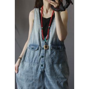 Plunging Neck Baggy 90s Overalls Ripped Blue Denim Shortall