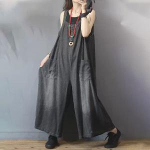 Straight Pockets Sleeveless Long Jeans Plus Size Wide Leg Overalls