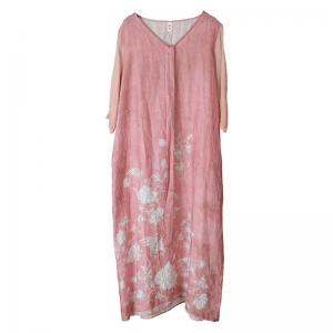 Chinese Style Printed Loose Pink Dress Silk Sleeves Tie Front Dress