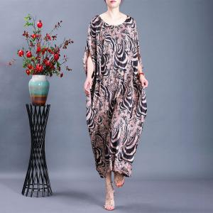Abstract Printing Plus Size Moroccan Kaftan Silky Vintage Modest Dress
