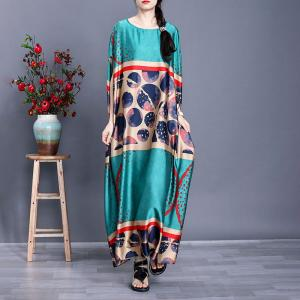 Plus Size Polka Dot Dress Silk Maxi Kaftan for Senior Women
