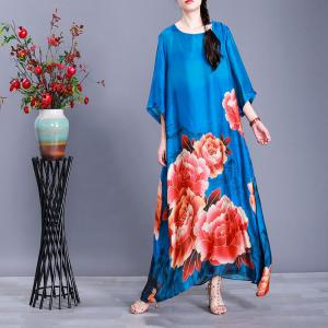 Colorful Flowers Loose Shift Dress Half Sleeve Silky Vintage Dress