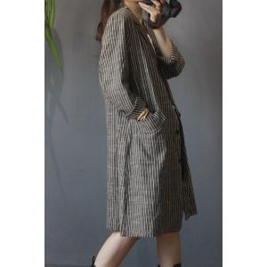 OL Style Vertical Striped Blazer Mid-Length Cotton Linen Outerwear