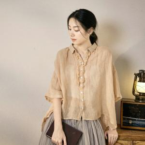 Retro Style Linen Fringed Shirt Lace Splicing Plus Size Blouse