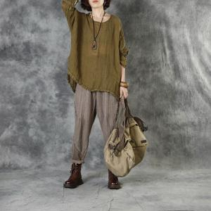 Crew Neck Pleated Flax Clothing Long Sleeve Linen Tunic for Women