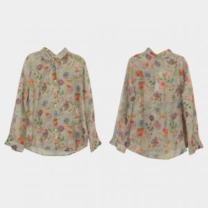 Over50 Style Flowers Vintage Shirt Long Sleeve Ramie Clothes