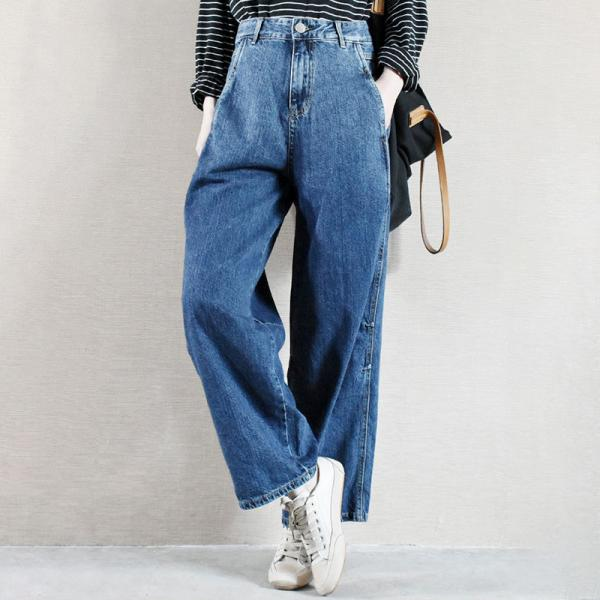Dark Blue High Rise Straight Jeans Korean Baggy Cuffed Mom Pants