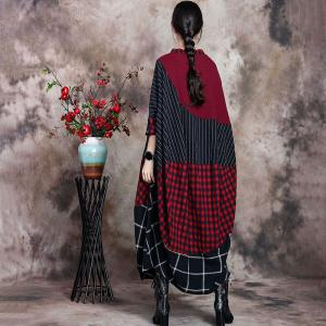 Checkered Red Tent Dress Cotton Linen Plus Size Cocoon Dress