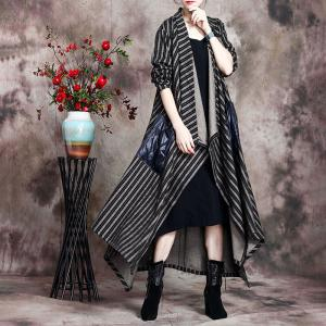 Chunky Striped  Duster Coat Plus Size Cotton Winter Coat Womens