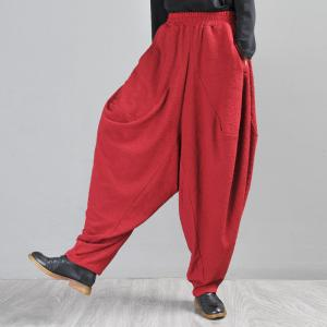 Jacquard Weave Red Harem Pants Large Designer Dhoti Pants for Women