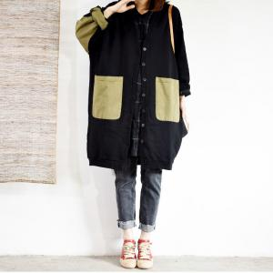 Single-Breasted Cotton Plus Size Coat Big Pockets Midi Cardigan