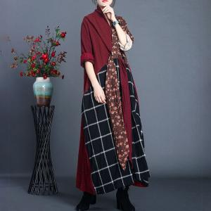 Checker and Floral Maxi Kimono Dress Cotton Linen Burgundy Tied Front Dress