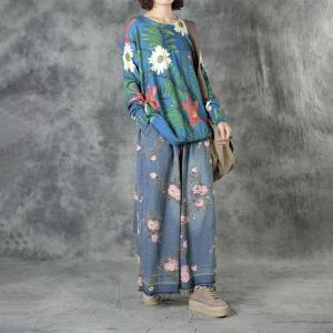 Flowers and Leaf Blue Knitwear Loose Long Sleeve Pullover