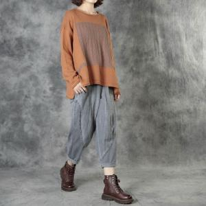 Long Sleeve Crew Neck Knitwear Contrast-Colored Patchwork Oversized Sweater