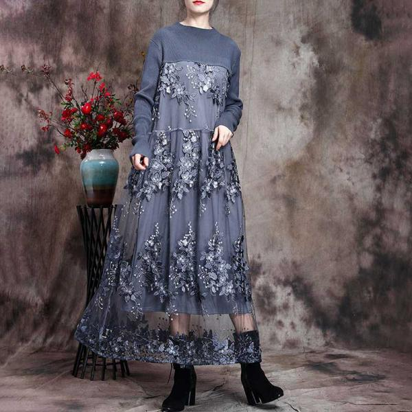 Long Sleeve Flowers Applique Dress Elegant Lace Dress