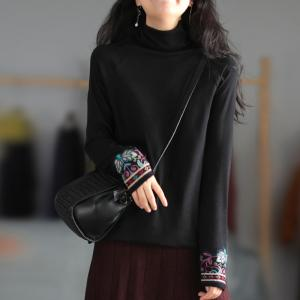 Embroidered Sleeves Turtleneck T-shirt Casual Cotton Folk Tee