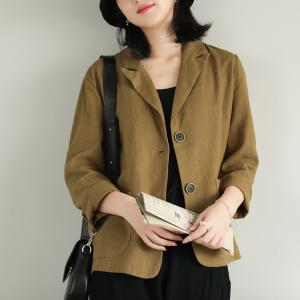 Straight Pockets Oversized Blazers Casual Ramie Blazer for Women