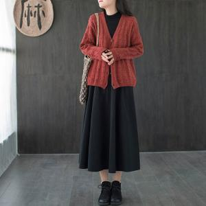 Ladylike Cotton Maxi Skirt Plain Pleated A-Line Skirt