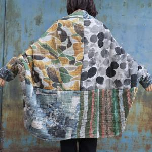 Polka Dot and Floral Kimono Coat Oversized Quilted Puffer Coat
