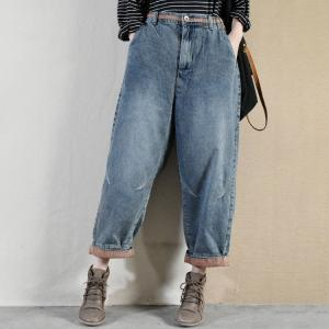 Contrast Colored Winter Cuffed Jeans Womens Thick Baggy Jeans