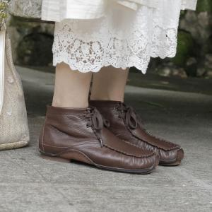 Low Heel Lace Up Short Boots Casual Sheepskin Leather Handmade Shoes