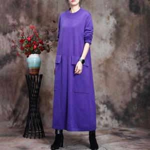 Solid Color Loose Wool Sweater Dress Flap Pockets Winter Dress