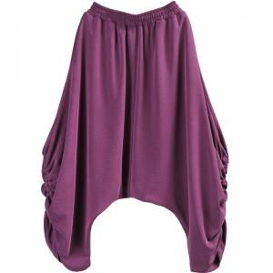 Comfy Modal Custom Harem Pants Drawstring Purple Thai Pants