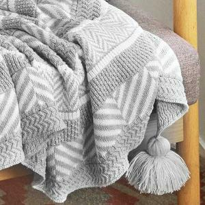 Jacquard Gray Woven Blanket Gray Ball Fringed Throws