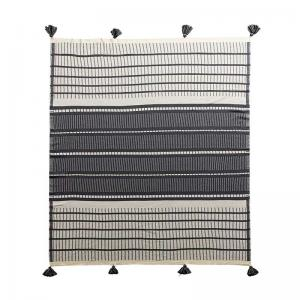 Vertical Striped Cotton Blanket Graphic Tassel Couch Throw