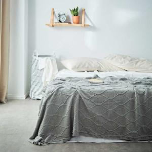 Minimalist Style Grid Sweater Blanket Cotton Weighted Blanket