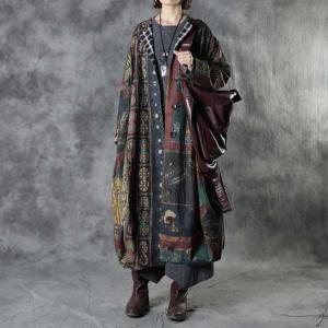Ethnic Patterns Linen Quilted Coat Plus Size Cocoon Puffer for Senior Women