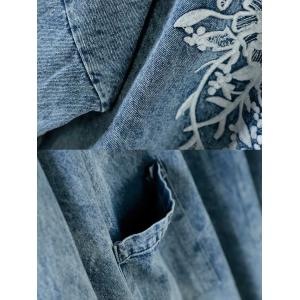 Raw Hem Stonewash Jean Coat Chinese Button Denim Embroidered Blouse