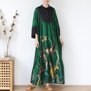 Bat Sleeves Large Butterfly Dress Polo Neck Silk Church Caftan