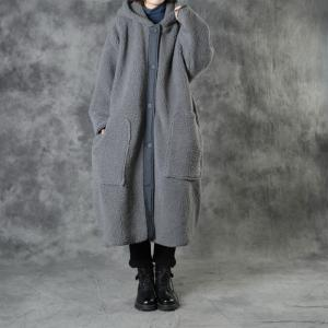 Plus Size Gray Sherpa Coat Womens Hooded Overcoat