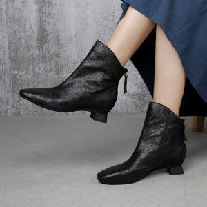 Back Zip Mid Calf Leather Boots Patterns Chunky Heels Booties