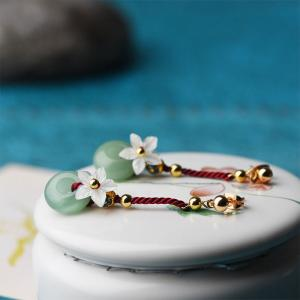 Shell Flowers Aventurine Chinese Earrings