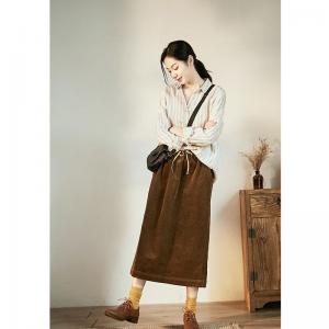 Leisure Style Vertical Striped Blouse Loose Linen Korean Blouse