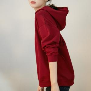 Korean Style Scarlet Hooded Sweatshirt Cotton Pullover Hoodie
