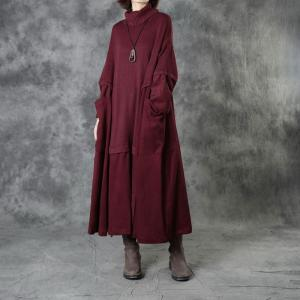 Corduroy Splicing Turtleneck Sweater Dress Large Winter Kaftan