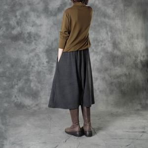 Neutral Colors Asymmetrical Pantskirt Loose Culottes