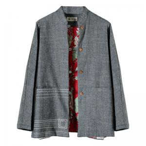 Over50 Style Linen Buddhist Coat Gray Embroidered Padded Coat