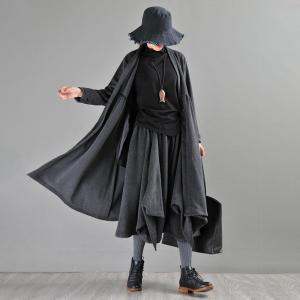 High-Waist Dark Gray Cardigan Fit and Flare Cotton Oversized Cardigan
