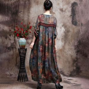 V-Neck Red Printed Chinese Dress Loose Silky Traditional Dress