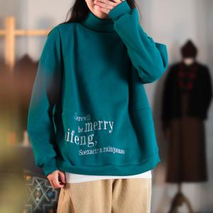 Letter Embroidery Cotton Sweatshirt Oversized High Neck Pullover