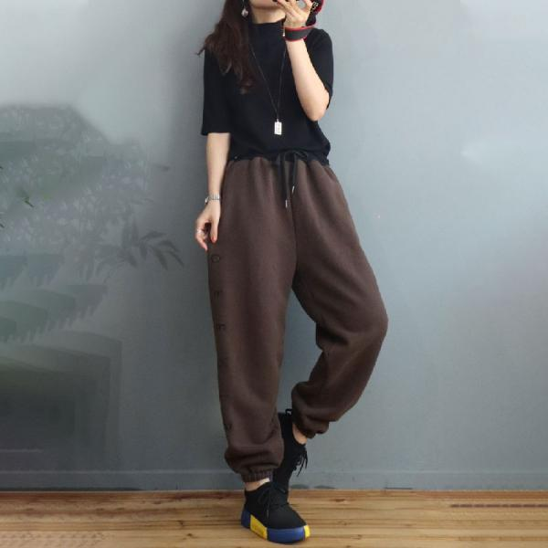 Letter Embroidered Cotton Pants Plain Fleeced Casual Trousers