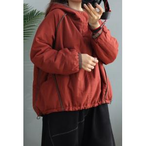Solid Color Drawstring Plus Size Hoodie Quilted Short Pullover Hoodie